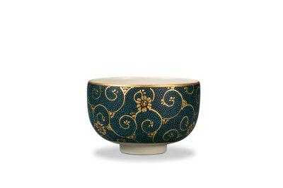 画像1: 抹茶碗 本金青粒鉄仙